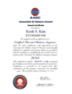 AABC CERTIFIED TEST AND BALANCE ENGINEER